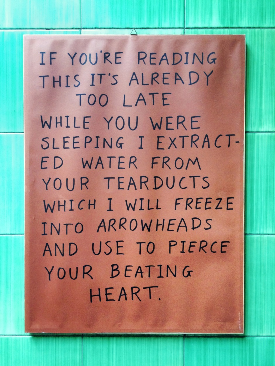 An example of David Bussell's now legendary 'If You Reading This It's Already Too Late' messages. © David Bussell