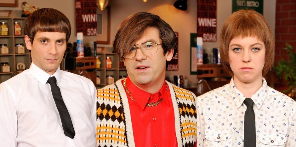 L-R: Daniel Simonsen, Dan Skinner, Ellie White © Pett TV / Christopher Baines