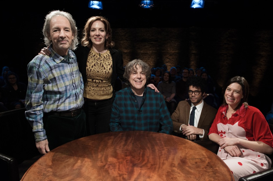 Alan Davies: As Yet Untitled - Series 4 - Ep 04 - Picture Shows: Harry Shearer, Katherine Parkinson, Alan Davies, Richard Ayoade and Lou Saunders
